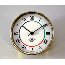 Ship's Clock/Quartz,Mini - 90mm / Brass, Roman figures with 3-coloured deco line