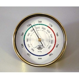 Barometer,Mini - 90mm / Brass ,3-coloured deco line, mm