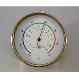 Thermometer,Mini - 90mm / Brass, 3-coloured deco line