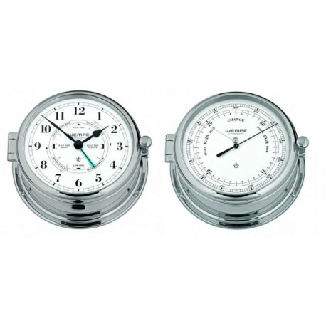 ADMIRAL II brass  chrome plated Tide / Getijden klok en barometer set