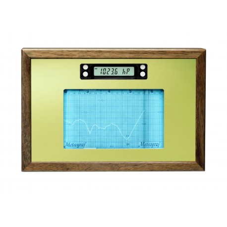 METEO/HUMIGRAF Woooden frame Nut wood polished with Gold mirror